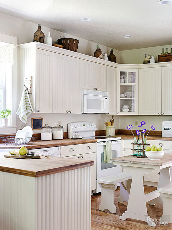10 Stylish Ideas For Decorating Above Kitchen Cabinets: what to do with space above cabinets