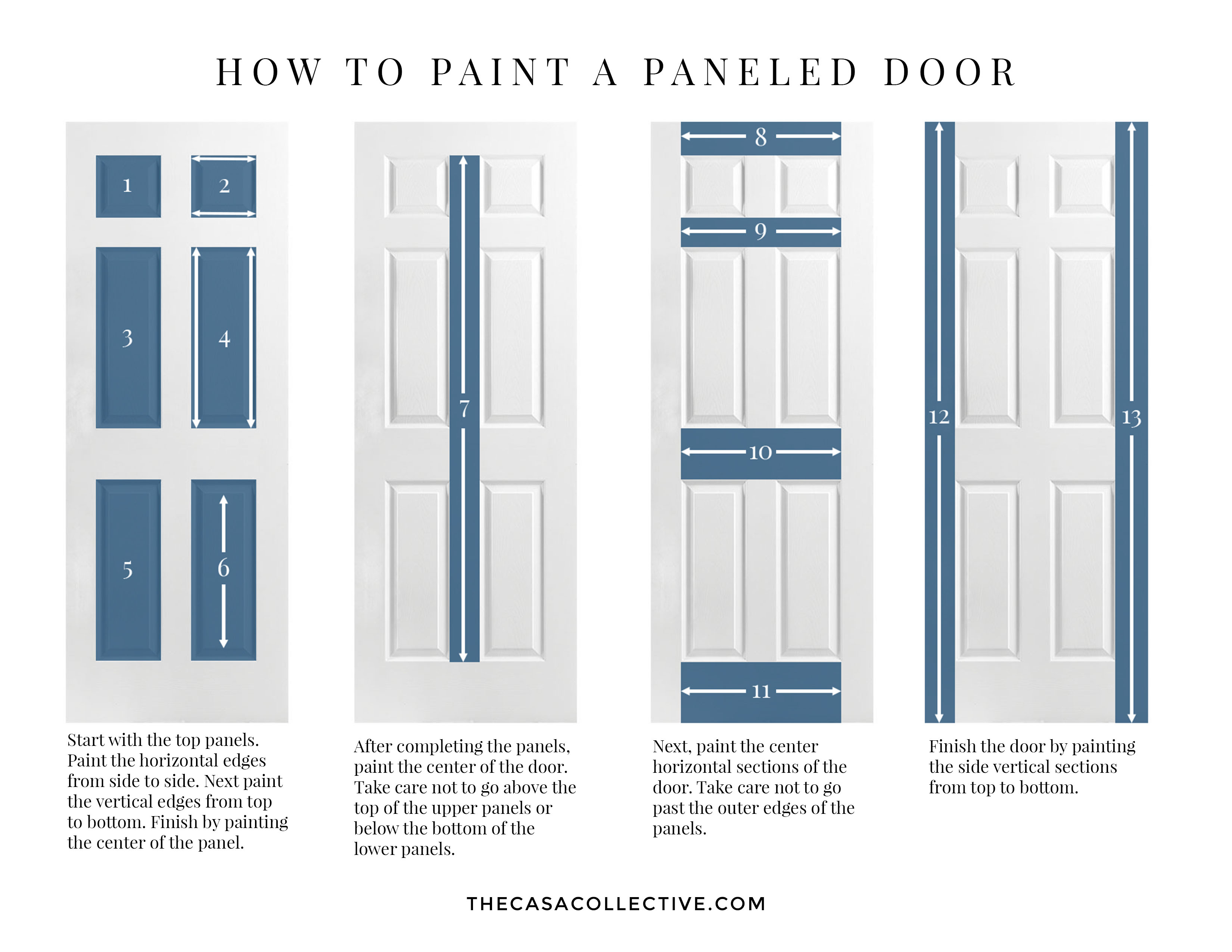 Wondering whether or not your interior doors should match the trim? An interior decorator answers that question and offers inspiration for to make it work. | TheCasaCollective.com | #interiordoorsandtrim #paintinginteriordoors #paintingtrim #choosingcolor