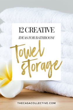 Most bathrooms, no matter if they're large or small, can benefit from having more storage - especially storage for towels. Here are 12 creative bathroom towel storage solutions that are easy to implement and won't break the bank.   #bathroomtowelstorage #bathroomstorage #towelstorage