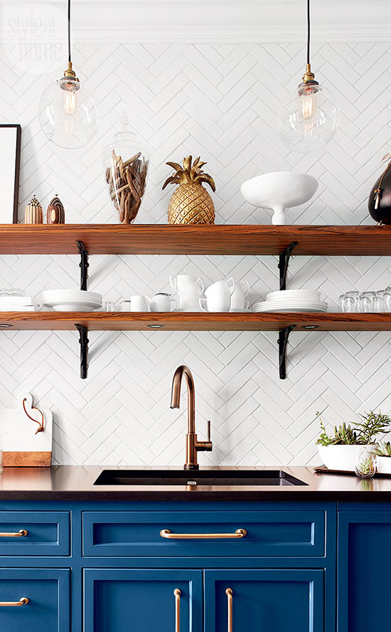 Open kitchen shelving visually expands a kitchen space, provides easily accessible storage, and works well with just about any decorating style. You'll love these 10 simple ideas for keeping your open shelving looking stylish and organized. | #openkitchenshelving #kitchenideas #kitchendecor #organizingopenshelving #interiordecorating #interiordesign #decoratingblog #affiliatelink