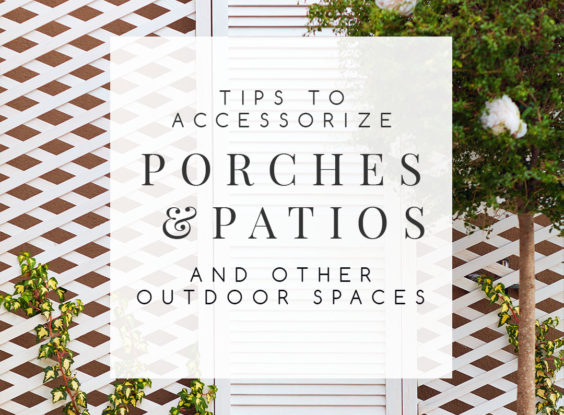 Outdoor Decor Ideas: Tips for Accessorizing Porches & Patios | Make your outdoor space as comfortable and inviting as your interior rooms. Find inspiration for your porch or patio with these 15 ideas for beautiful and functional outdoor decor. | #outdoordecor #outdoordecorideas #outdooraccessories #decoratingoutdoorspaces #interiordecorating #interiordesign #decoratingblog #affiliatelinks