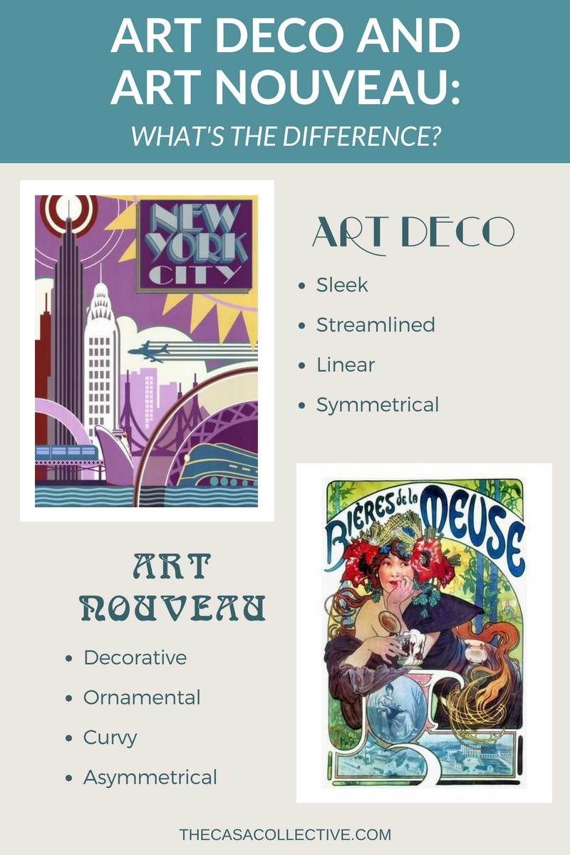 How can you tell the difference between Art Deco and Art Nouveau? Even though both these styles begin with 'art', they are two very different design movements each with its own distinct style. Here are some simple tips to help you recognize each of these two fascinating styles. | #artdeco #artnouveau #designstyle #artdecovsartnouveau #interiordecorating #interiordesign #decoratingblog #decoratingblogger | TheCasaCollective.com