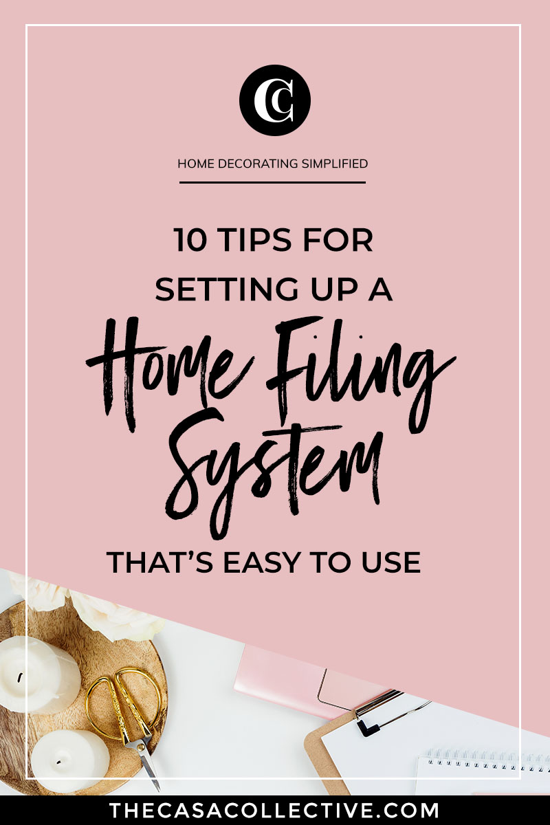 One of the keys to a less stressful lifestyle is an efficient home filing system. When your paperwork is organized, your life feels more organized. Follow these tips to create a unique home filing system that works for you and your family. | #homefilingsystem #homeorganizing #homeorganization #homeofficeorganizing #homeofficeorganization #interiordecorating #interiordesign #decoratingblog #affiliatelink | TheCasaCollective.com