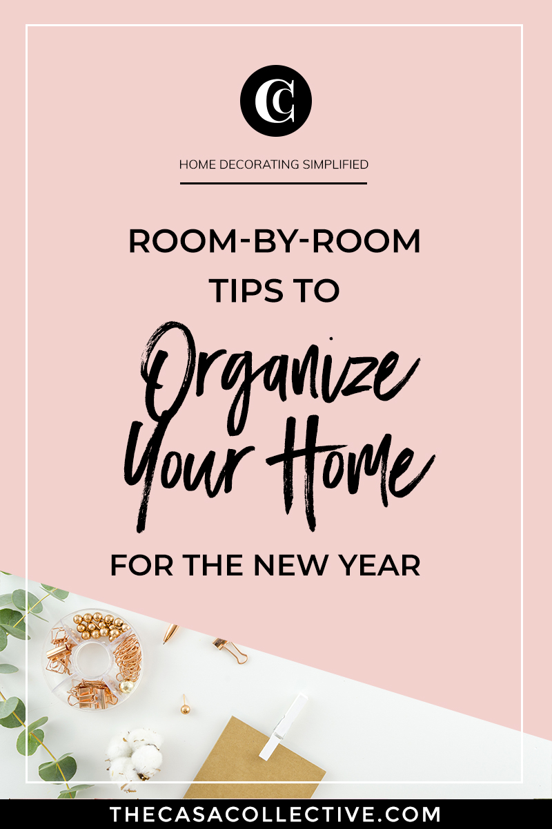 Here's a room-by-room guide to organizing your home. It will give you some ideas on where to start and what to get rid of. This list is helpful for any season. You'll want to keep it handy for all of your decluttering sessions throughout the year. | #kitchenorganization #livingroomorganization #bathroomorganization #homeofficeorganization #closetorganization #homeorganization #interiordecorating #interiordesign #decoratingblog #affiliatelink | TheCasaCollective.com